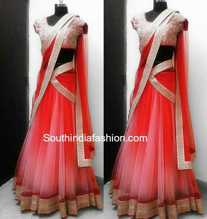 Simple and elegant designer half saree –South India Fashion