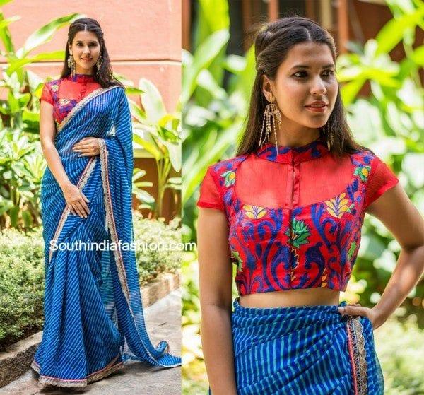 Trendy sarees with designer blouses