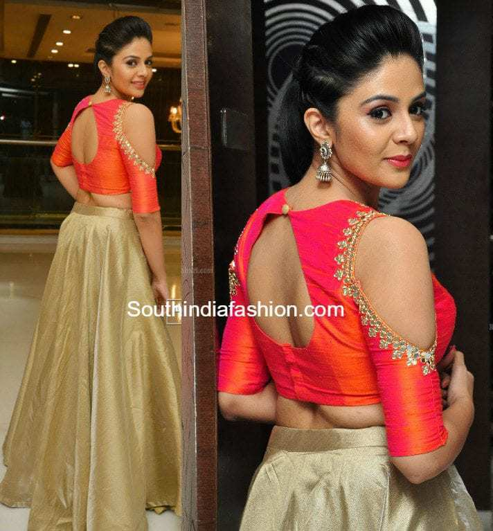 Sreemukhi In A Long Skirt And Crop Top South India Fashion