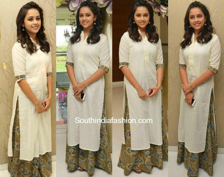 5b4958f7fa6941 Sri Divya in a palazzo suit – South India Fashion