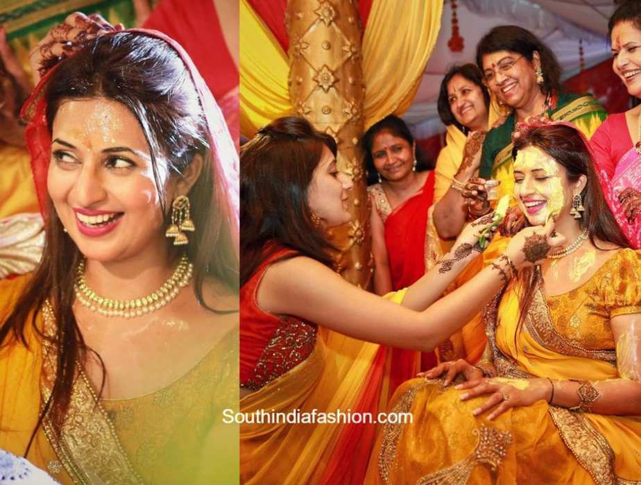 Divyanka Tripathi Mehndi Ceremony : Divyanka tripathi s haldi and mehendi u south india fashion