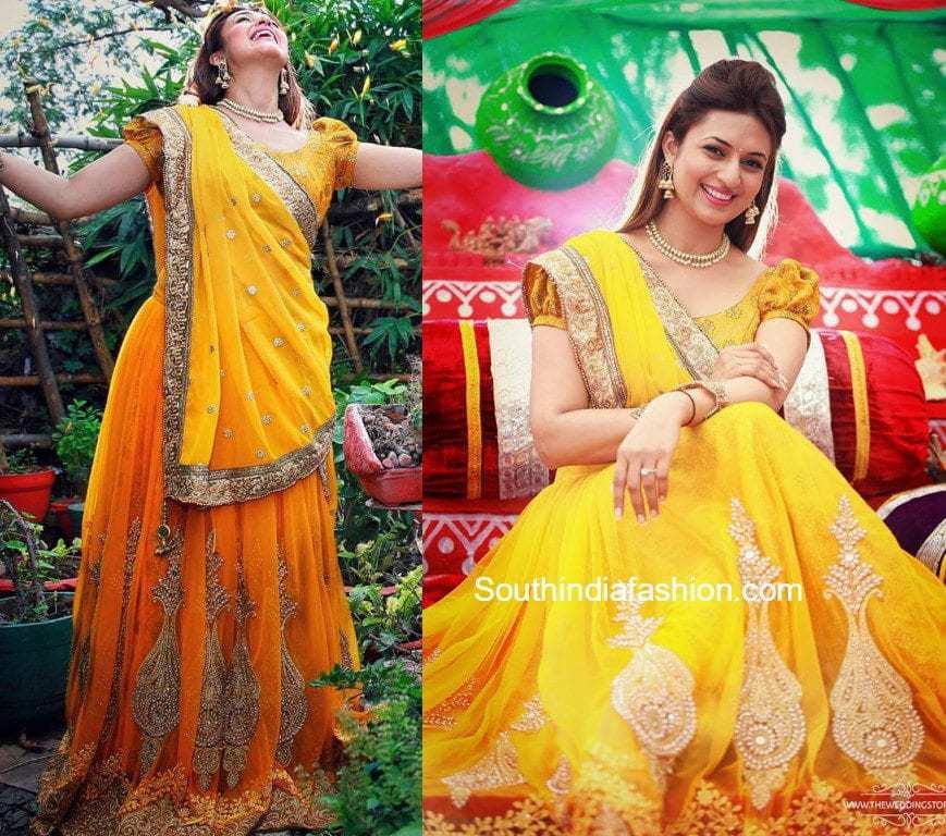 divyanka tripathi yellow lehenga haldi ceremony - Traditional 6th Wedding Anniversary Gift Ideas