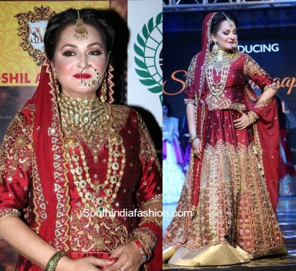 Jayapradha in a heavy work bridal lehenga