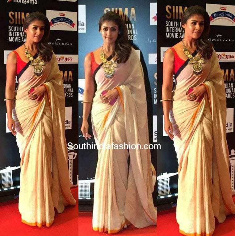 Nayanthara In A Khadi Saree At Siima Awards South India