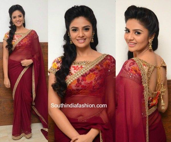 sreemukhi_maroon_saree_floral_blouse_pellichoopulu_audio_launch