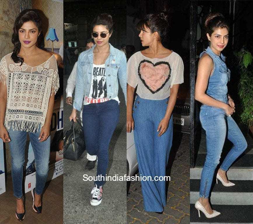5f3c9eb55b0 10 Denim Outfit Ideas to Steal From Priyanka Chopra – South India ...