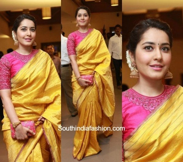 Raashi Khanna in a silk saree 600x531
