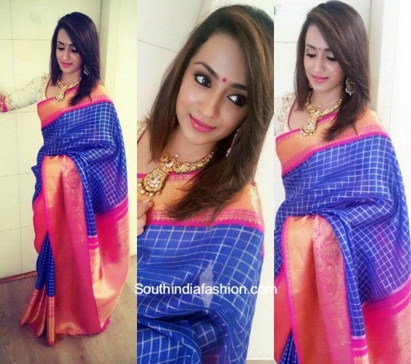 Trisha Krishnan in a traditional saree at NAC Jewellers