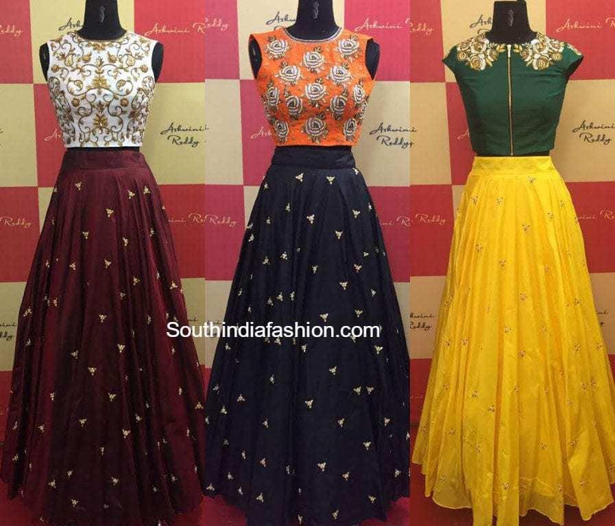 07cce4e1ba designer_long_skirts_crop_tops_ashwini_reddy. Simple embellished long skirts  teamed with embroidered crop tops by Ashwini Reddy.