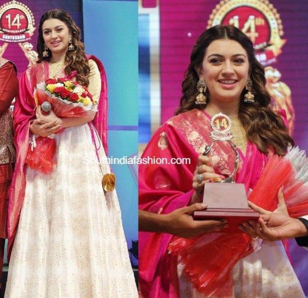 hansika_shravan_kumar_lehenga_santosham_awards