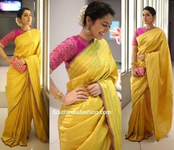 raashi_khanna_yellow_saree_at_director_krish_wedding