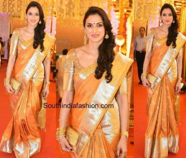 Shilpa Reddy in a kanjeevaram saree