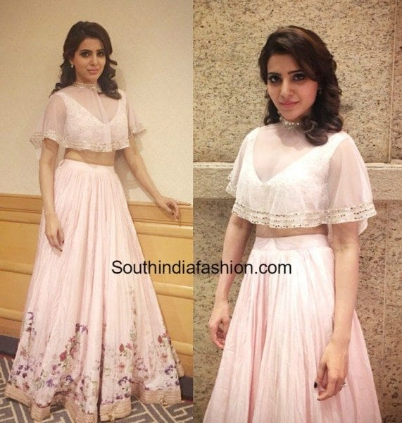 samantha_prabhu_ridhi_mehra_cape_lehenga_pink