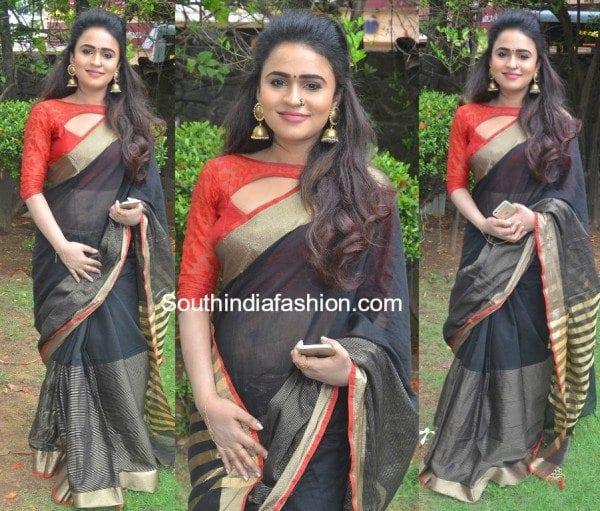 sherin-pilakkal-saree-at-kadikara-manithargal-movie-audio-launch