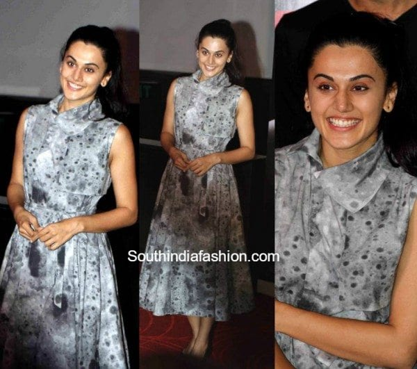 taapsee-pannu-at-the-success-meet-of-pink-in-a-grey-dress