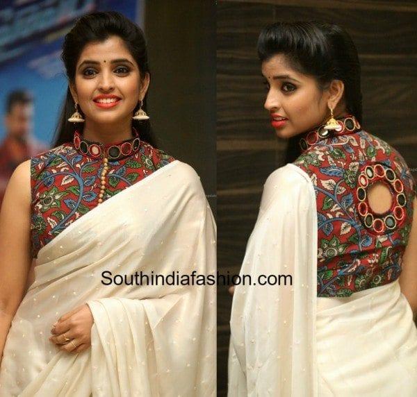 anchor_syamala_kalamkari_saree_blouse