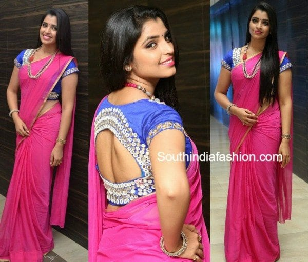 anchor_syamala_pink_saree_mirror_blouse