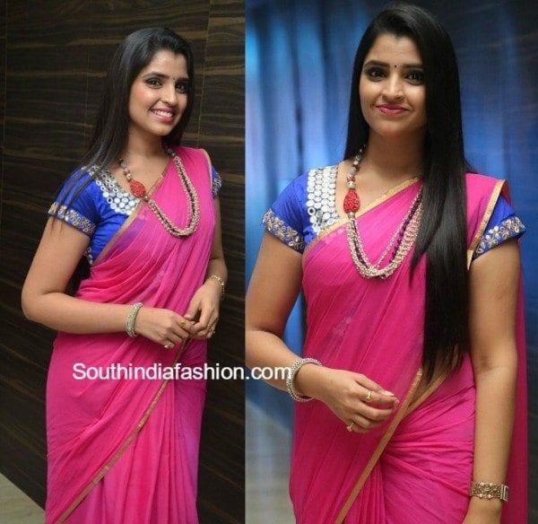 anchor_syamala_plain_pink_saree