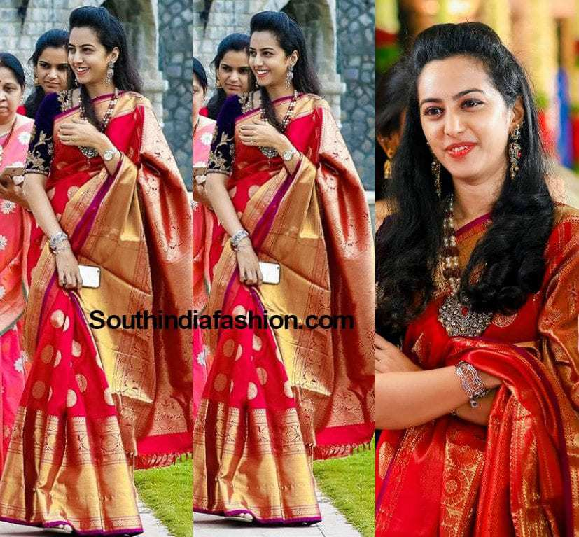 Tejaswini in a Kanjeevaram Saree –South India Fashion