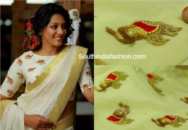 elephant motifs designer blouses south india fashion