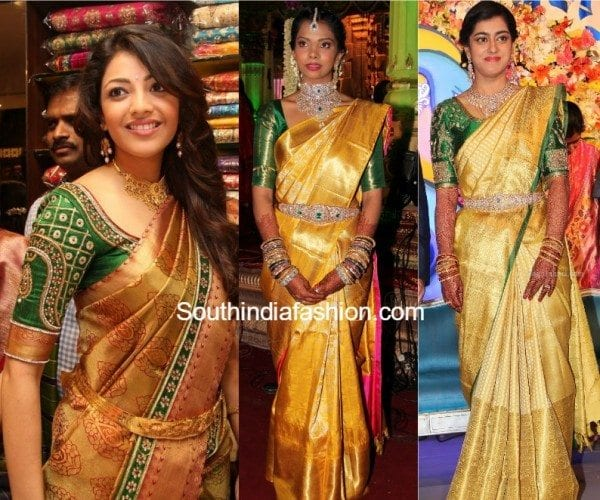 707fa4390627d0 4 Best Blouse Color Combinations with Gold Kanjeevaram Sarees