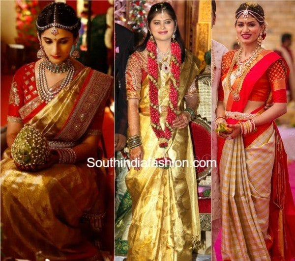 4 Best Blouse Color Combinations With Gold Kanjeevaram Sarees