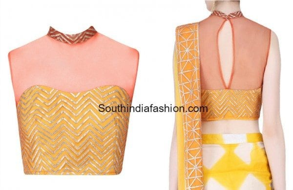 high_neck_blouse_with_net_neck