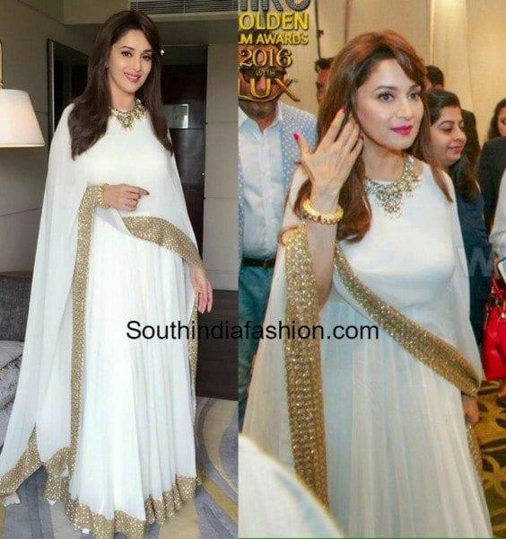 madhuri_dixit_white_prathyusha_garimella_cape_anarkali_hirutv_awards