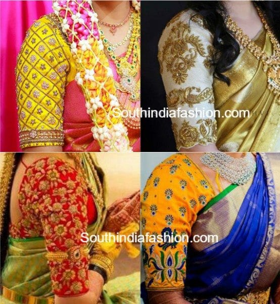 Elbow Length Sleeves Pattu Saree Blouse Designs South