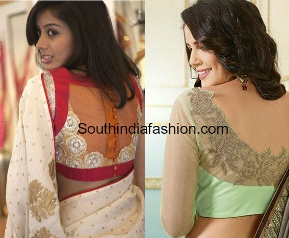 net_back_neck_blouse_designs