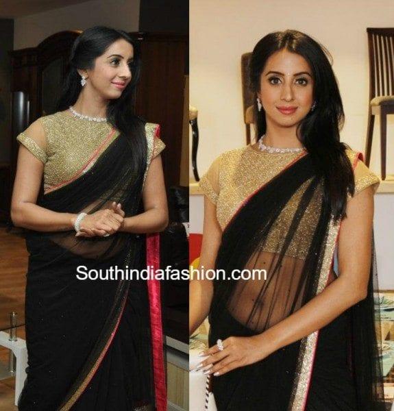 Sanjana in a black saree