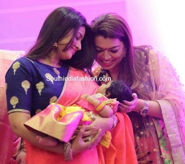 sneha_prasanna_saree_sridevi_vijaykumar_daughter_cradle_naming