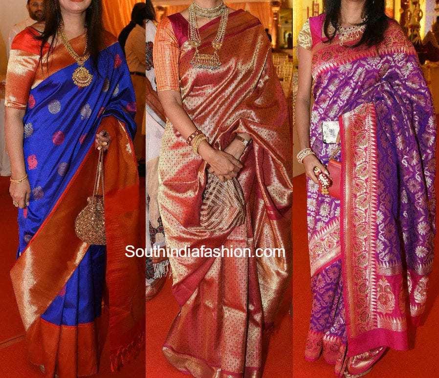 Guests Silk Saree Styles at Swathi Nimmagadda's Wedding