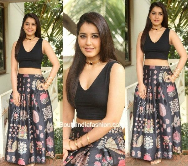 Raashi Khanna in a long skirt and crop top