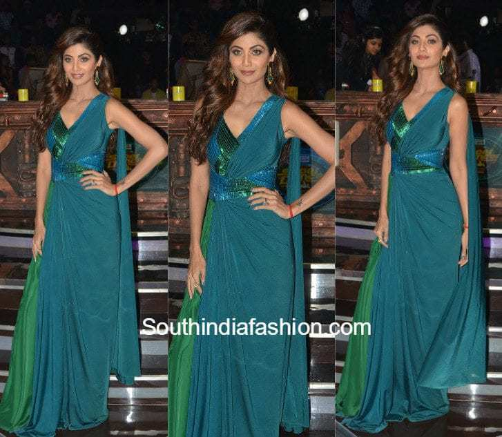 Shilpa Shetty in Amit Aggarwal Saree Gown – South India Fashion