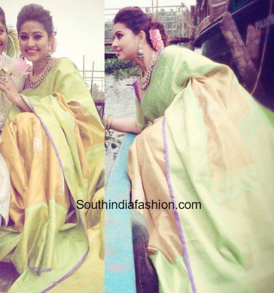 sneha_prasanna_green_yellow_kanchipuram_saree