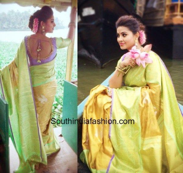 sneha_prasanna_parvathi_dasari__kanchipuram_saree_green