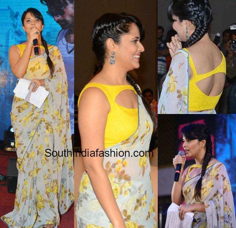 cdda3480fa South India Fashion Anchor Ansuya In Purple Saree: Anasuya In A Floral Saree