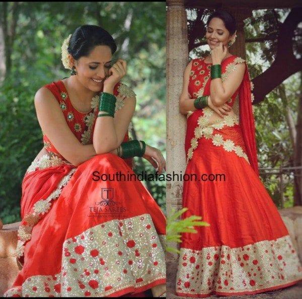 Anasuya in a Red Half Saree