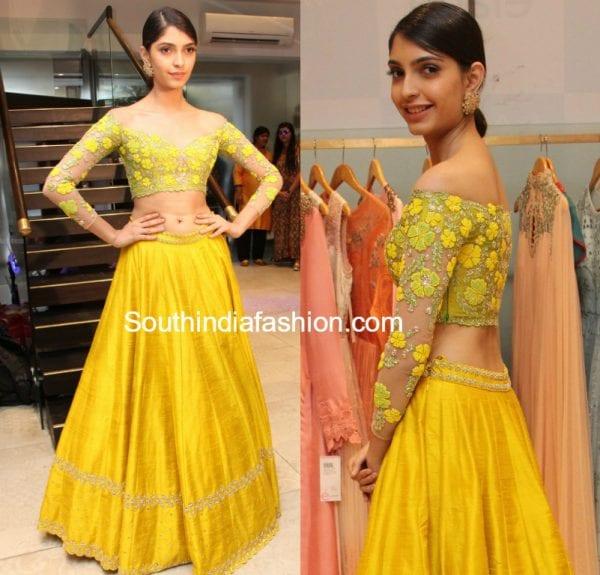 ashna_mishra_yellow_long_skirt_crop-top_divya_reddy