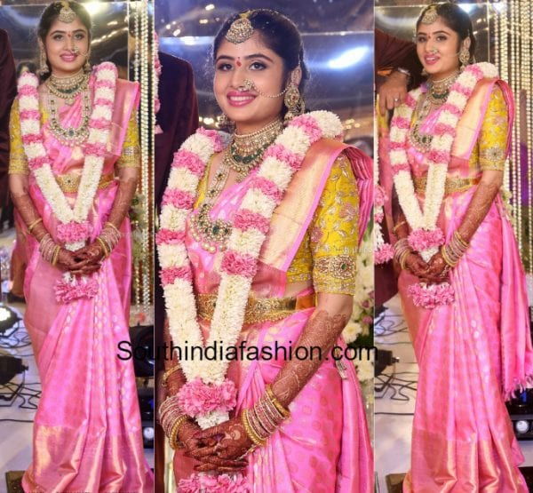 Bride in a pink kanjeevaram saree