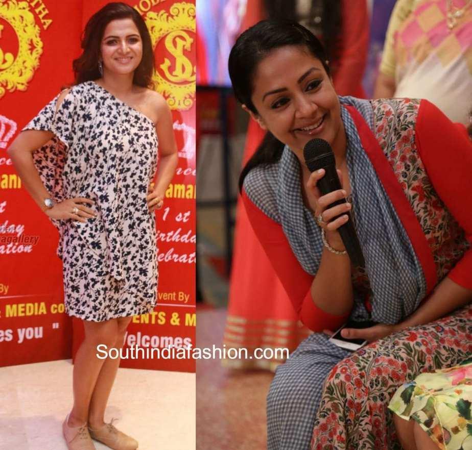 Jyothika traditional sari at shobi wedding saree blouse patterns - Dd_jyothika_at_shobi_daughter_birthday