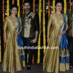 Divyanka Tripathi in a gold anarkali at Ekta Kapoor's Diwali Party