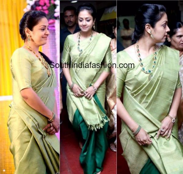 Jyothika in a half and half silk saree