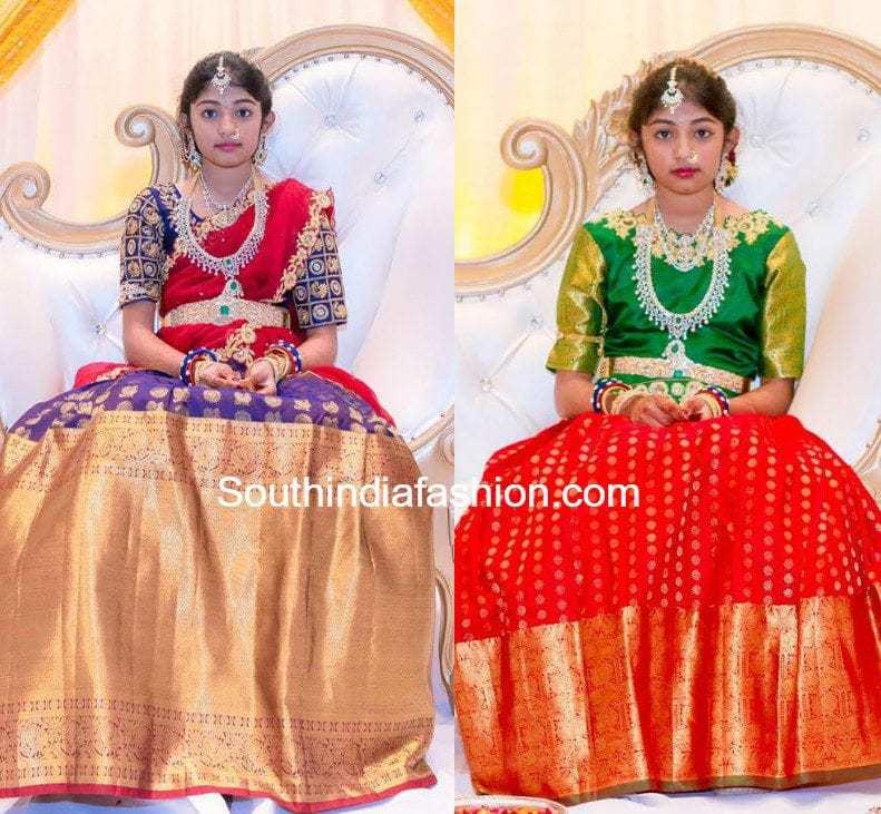 Heavy Border Kanjeevaram Bridal Half Sarees Lehengas