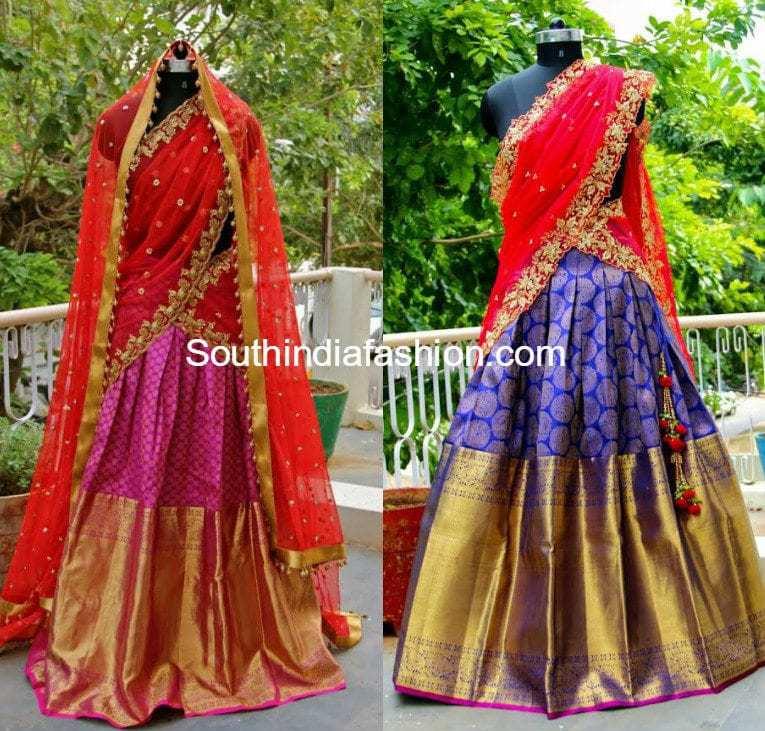 9971ffc1e2f3 Heavy Border Kanjeevaram Bridal Half Sarees / Lehengas – South India ...