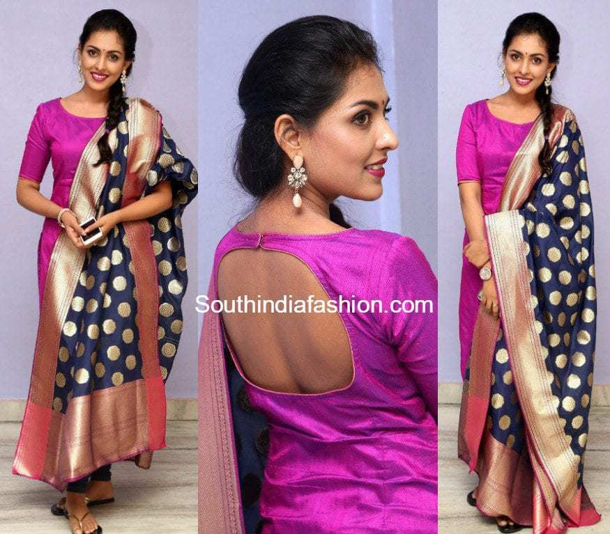 Madhu Shalini In A Pink Salwar South India Fashion