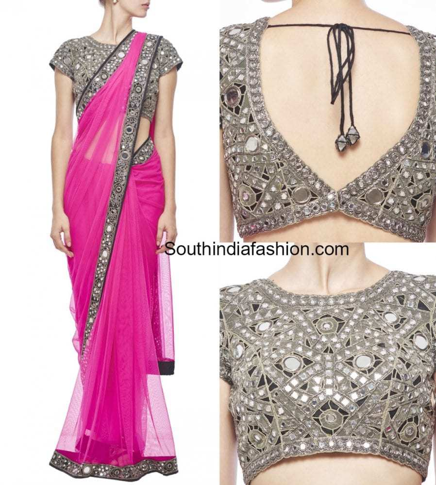 Latest mirror work saree blouse designs south india fashion for Mirror work saree