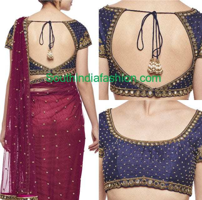 Mirror work blouse fashion trends south india fashion for Mirror work saree