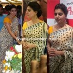 Samantha Prabhu in a cotton saree at Aakruti Silks launch in Chirala